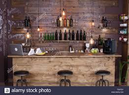 Coffee Shop Bar Counter With Wine Bottles Modern Design