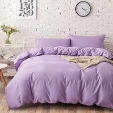 100 cotton elegant light purple bedding sets queen size lilac duvet blanket quilt covers plain color bed sheets nordic king size comforters boys bedding