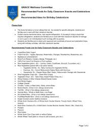 Grace Wellness Committee Recommended Lists Classroom Snacks
