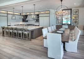 modern farmhouse style open plan kitchen and dining room