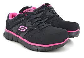 skechers work boots. womens skechers work alloy toe slip resistant eh sandlot athletic black/pink in black boots