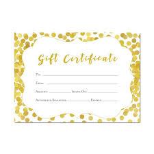 Gold Gift Certificate 5x7 Glitter Confetti Printable Etsy