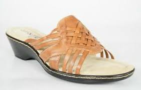 Details About Eurosoft Brown Leather Weave Slides Womens Size 8 5 M Wendy Sandals New