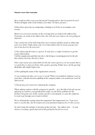 Cover Letter Examples Of Cover Letter For Resumes Example Of Cover
