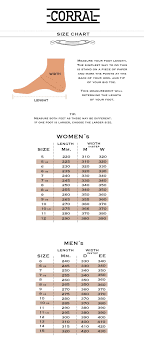 Boot Wide Size Chart Size Chart Corral