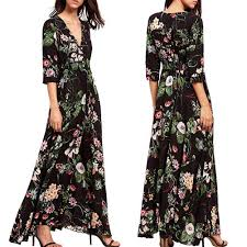 <b>2019 New Yfashion Women</b> Elegant Charming Slim Floral Printing ...