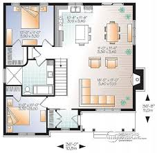 House plan W  V detail from DrummondHousePlans com st level Transitionall Bungalow house plan   open floor plan  large fireplace  kitchen island