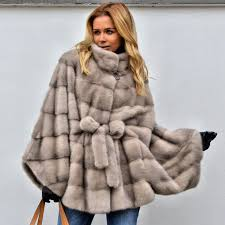 details about women s real mink fur coat poncho cape stand collar belted bat sleeved overcoat