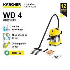 Sản xuất Romania) Máy hút bụi khô và ướt Karcher WD 4 Premium công suất  1000w với thùng chứa thép chóng gỉ 20 lít