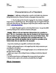 characteristics of a good president paragraph essay prompt  characteristics of a good president 5 paragraph essay prompt graphic organizer