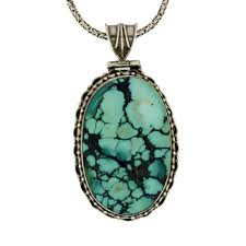 details about large oval blue turquoise pendant sterling silver filigree around pendant