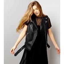 black leather look sleeveless biker jacket for l women leather jacket