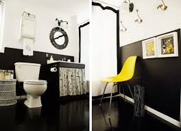 BLACK WHITE YELLOW Black White And Yellow Bathroom Make Over - Yellow and white bathroom