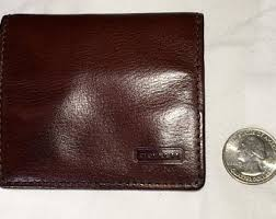 COACH Vintage Mahogany BROWN Leather  mini  Square COIN Case Snap Wallet
