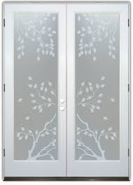 interior frosted glass door. Double Entry Doors Frosted Glass Asian Style Branches Leaves Blossoms Cherry Tree Sans Soucie Interior Door N