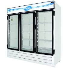 fogel cr 65 us 78 wide reach in refrigerator featuring three hinged glass doors