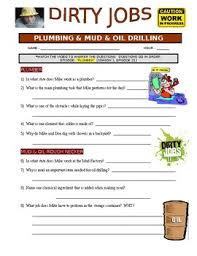 Dirty Jobs Plumber Career Video Worksheet Sub Plans No Prep