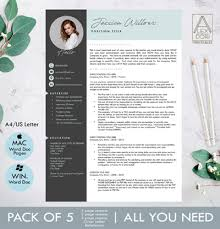 Modern Resume Templete Modern Resume Template With Pictures In Mint And Dark Gray