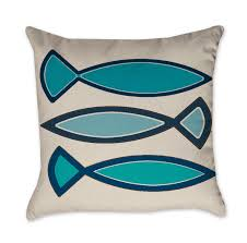 blue and gray funky fish pillow