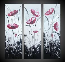 modern poppies painting 60x60 cm 2016 by ilonka walter abstract art