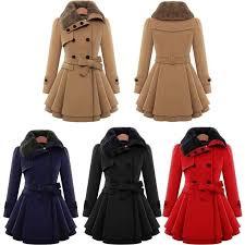 women trench coat las winter fur collar wool warm double ted coat s 4xl