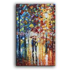 landscape oil paintings on canvas knife lover rain street tree lamp texture palette knife abstract wall