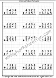 Math Worksheets on Graph Paper / FREE Printable Worksheets ...4 Digit Addition – No Regrouping – 1 Worksheet