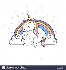 Cute Unicorn And Rainbow With Clouds Design Stock Vector Art