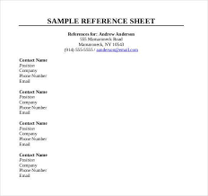 Sample Reference Sheet Acepeople Co