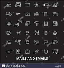 Mails Emails Editable Line Icons Vector Set On Black