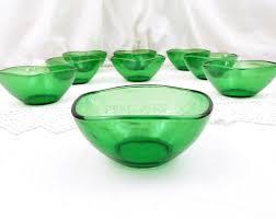 1 vintage mid century french vereco green glass bowl ran sugar bowl home