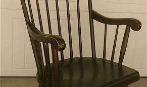 furniture nice solid black wooden rocking chair with high stick