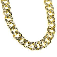 hip hop chain 20 inch cuban choker 15mm wide gold finish iced out links full