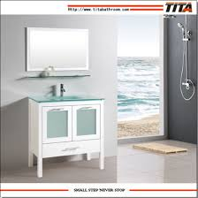 honed white bathroom vanity cabinet with frosted glass doors t9162