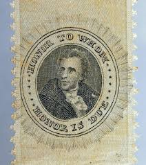 lot detail andrew jackson historically important or  andrew jackson historically important 1828 or 1832 portrait ribbon slogan honor to whom