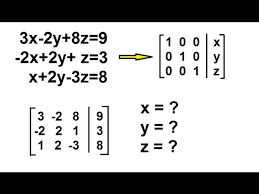 algebra solving simultaneous linear equations by gauss jordan elimination 3 by 3