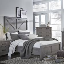 modus austin king barn door panel bed in rustic gray