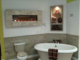 fireplace in bathroom wall home design