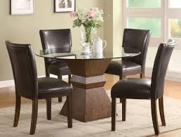 leather dining room furniture brown chairs uk white canada modern black dining room with post