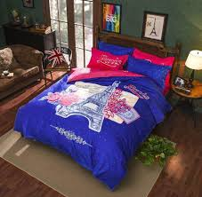 blue and pink paris print duvet cover set