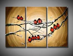 framed large size handmade oil painting on canvas flowers bird picture 3 panels set for living room home abstract wall decor in painting calligraphy