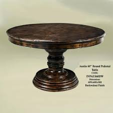60 in round dining table pedestal with leaf glass top inch