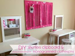 ... Ideas Paint Diy Teen Bedroom Decor For Top DIY Shutters Clipboard  Monogrammed Clothespins ...