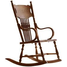 antique child s rocking chair with hand tooled leather seat for