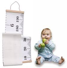 Hanging Growth Height Ruler Roll Up Canvas Height Measurement Chart With Wood Frame For Infant Baby Kids Toddlers Adults Room Wall Decoration