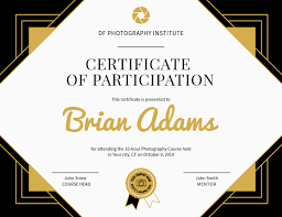 Certificate Of Participation Templates Photography Participation Certificate Landscape Template