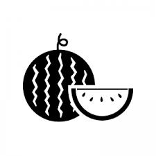 丸ごとスイカと切ったスイカのシルエット 無料のaipng白黒シルエット