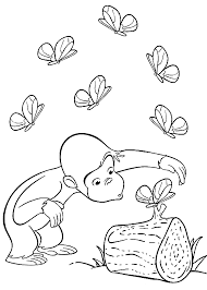 Curious George Coloring Pages With Butterflies Coloringstar