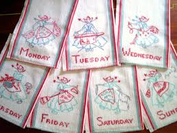 mahogany everyday kitchen towels assorted vintage kitchen towels set of  days of the week hand embroidery i love