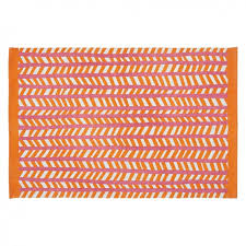 rao small orange and pink cotton flat weave rug 120 x 180cm